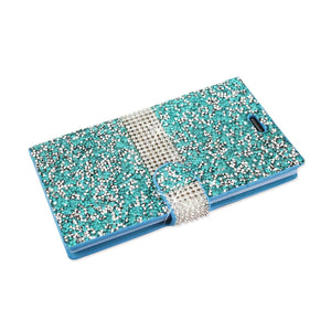Reiko Zte Zmax 2 Jewelry Rhinestone Wallet Case In Blue