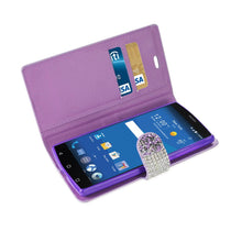 Load image into Gallery viewer, Reiko Zte Zmax 2 Jewelry Rhinestone Wallet Case In Purple