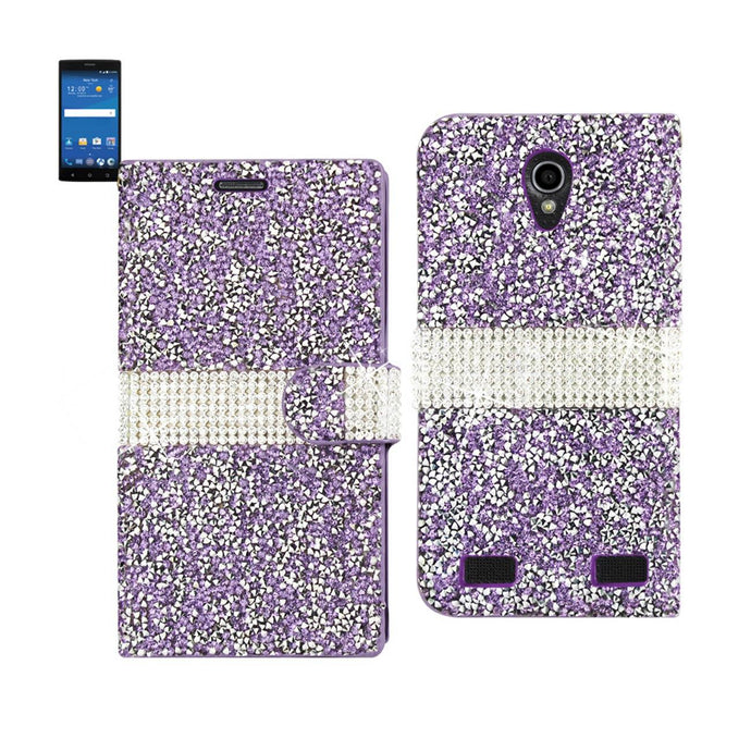 Reiko Zte Zmax 2 Jewelry Rhinestone Wallet Case In Purple