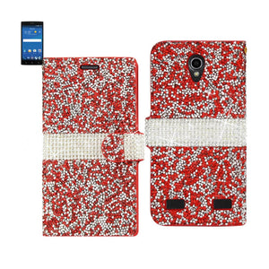 Reiko Zte Zmax 2 Jewelry Rhinestone Wallet Case In Red