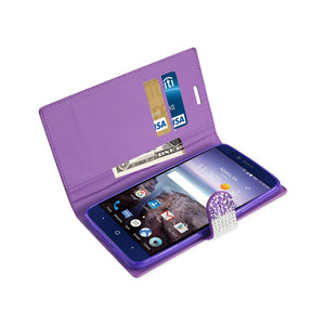 Reiko Zte Grand X Max 2 Jewelry Rhinestone Wallet Case In Purple