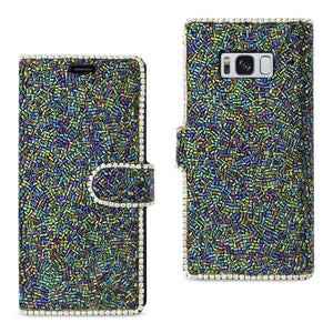 Reiko Samsung Galaxy S8- Sm Bead Diamond Wallet Case In Black