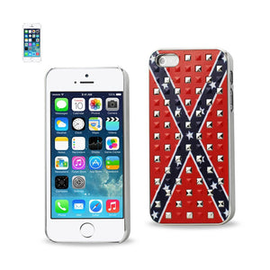Reiko Iphone Se- 5s- 5studded Plating Rivets Confederate Flag Design Case In Red