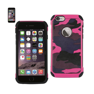 Reiko Iphone 6 Plus Hybrid Leather Camouflage Case In Pink