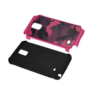 Reiko Samsung Galaxy Note 4 Hybrid Leather Camouflage Case In Pink