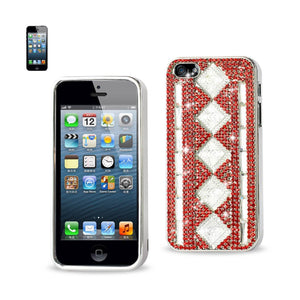Chain Diamond Case For Iphone5 White Stripes& Rhombus Patter Red