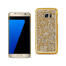 Load image into Gallery viewer, Reiko Samsung Galaxy S7 Edge Jewelry Bling Rhinestone Case In Gold