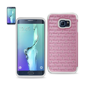Reiko Samsung Galaxy S6 Edge Plus Hybrid Heavy Duty Jewelry Diamond Case In White Pink