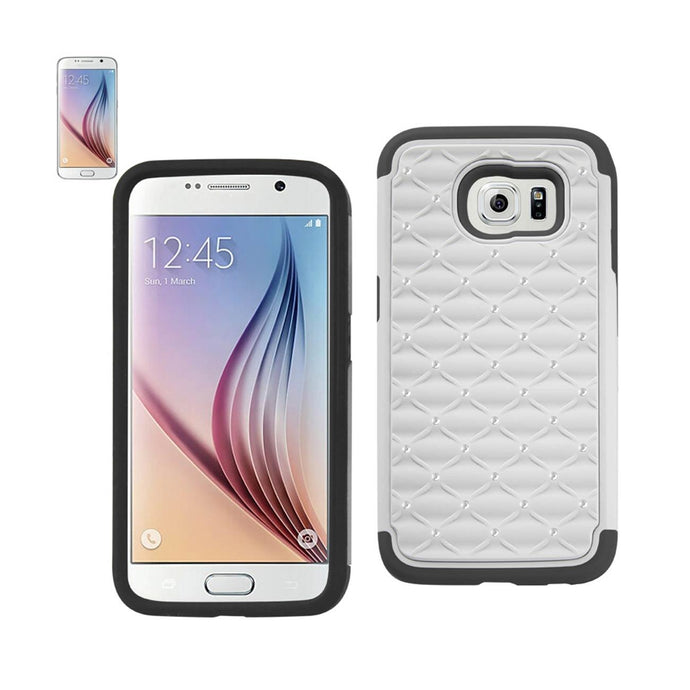 Reiko Samsung Galaxy S6 Hybrid Heavy Duty Jewelry Diamond Case In Black White