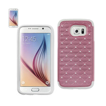 Load image into Gallery viewer, Reiko Samsung Galaxy S6 Hybrid Heavy Duty Jewelry Diamond Case In White Pink