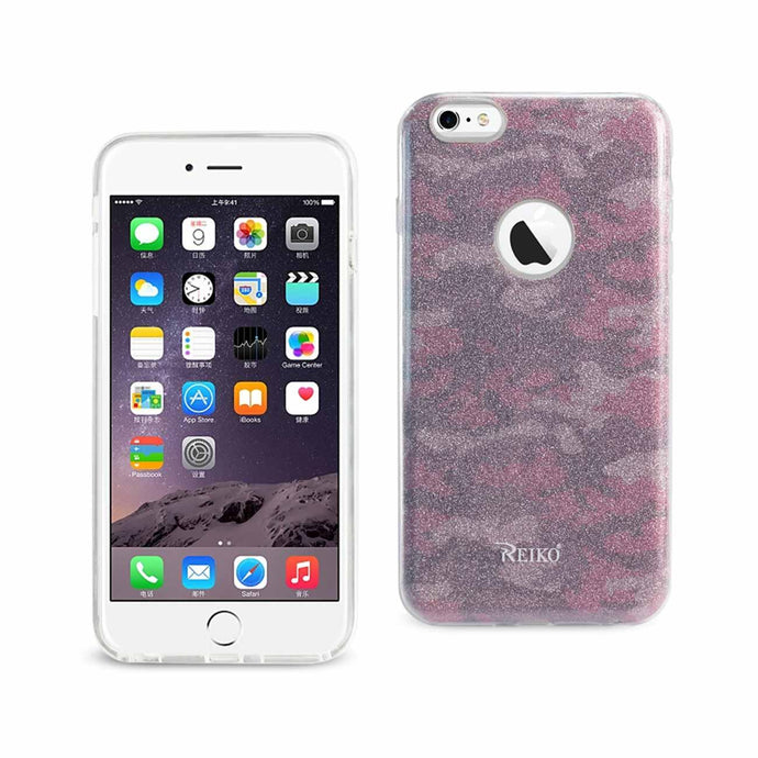 Reiko Iphone 6 Plus- 6s Plus Shine Glitter Shimmer Camouflage Hybrid Case In Camouflage Hot Pink