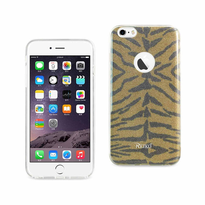 Reiko Iphone 6 Plus- 6s Plus Shine Glitter Shimmer Tiger Stripe Hybrid Case In Yellow