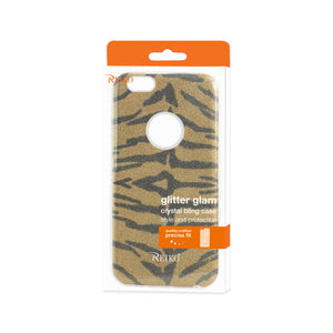 Reiko Iphone 6- 6s Shine Glitter Shimmer Tiger Stripe Hybrid Case In Yellow