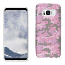 Load image into Gallery viewer, Reiko Samsung Galaxy S8 Edge- S8 Plus Shine Glitter Shimmer Camouflage Hybrid Case In Hot Pink