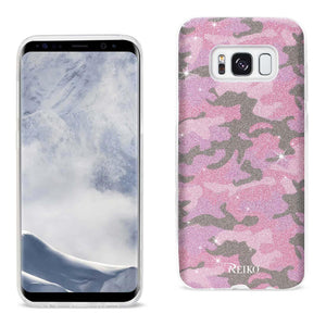 Reiko Samsung Galaxy S8 Edge- S8 Plus Shine Glitter Shimmer Camouflage Hybrid Case In Hot Pink