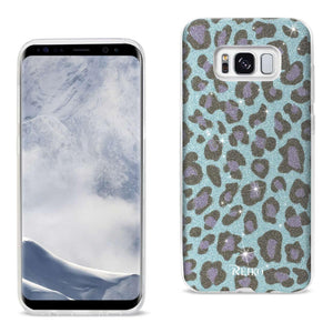 Reiko Samsung Galaxy S8 Edge- S8 Plus Shine Glitter Shimmer Leopard Hybrid Case In Blue