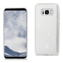 Load image into Gallery viewer, Reiko Samsung Galaxy S8 Edge- S8 Plus Shine Glitter Shimmer Stripe Hybrid Case In Linear Silver