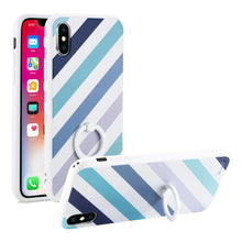 Load image into Gallery viewer, Reiko Iphone X Stripe Pattern Tpu Case With Rotating Ring Stand Holder