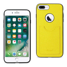 Load image into Gallery viewer, Reiko Iphone 7 Plus- 6s Plus- 6 Plus Anti-slip Texture Protector Cover With Card Slot In Yellow