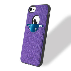 Reiko Iphone 7 Anti-slip Texture Protector Cover With Card Slot In Purple