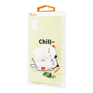 Reiko Iphone X Tpu Design Case With  3d Soft Silicone Poke Squishy Sleeping Cat