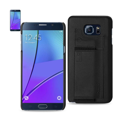 Reiko Samsung Galaxy Note 5 Rfid Genuine Leather Case Protection And Key Holder In Black