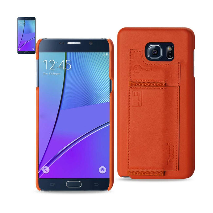 Reiko Samsung Galaxy Note 5 Rfid Genuine Leather Case Protection And Key Holder In Tangerine