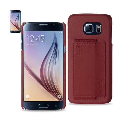 Reiko Samsung Galaxy S6 Rfid Genuine Leather Case Protection And Key Holder In Burgundy