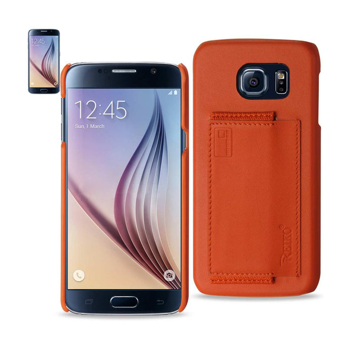 Reiko Samsung Galaxy S6 Rfid Genuine Leather Case Protection And Key Holder In Tangerine