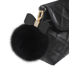 Load image into Gallery viewer, Reiko Phone Holder- Finger Loop Grip With Rhinestone Soft Puffy Fur Ball In Black