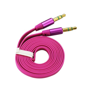 Reiko Stereo Male To Male Flat Audio Cable 3.2ft In Hot Pink