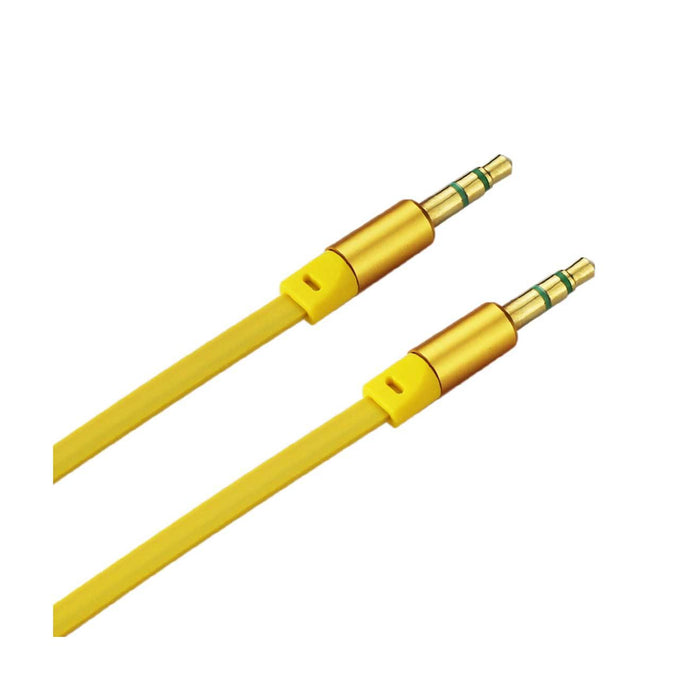 Reiko Stereo Male To Male Flat Audio Cable 3.2ft In Yellow