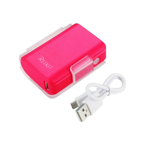 Reiko 4000mah Universal Power Bank With Cable In Hot Pink