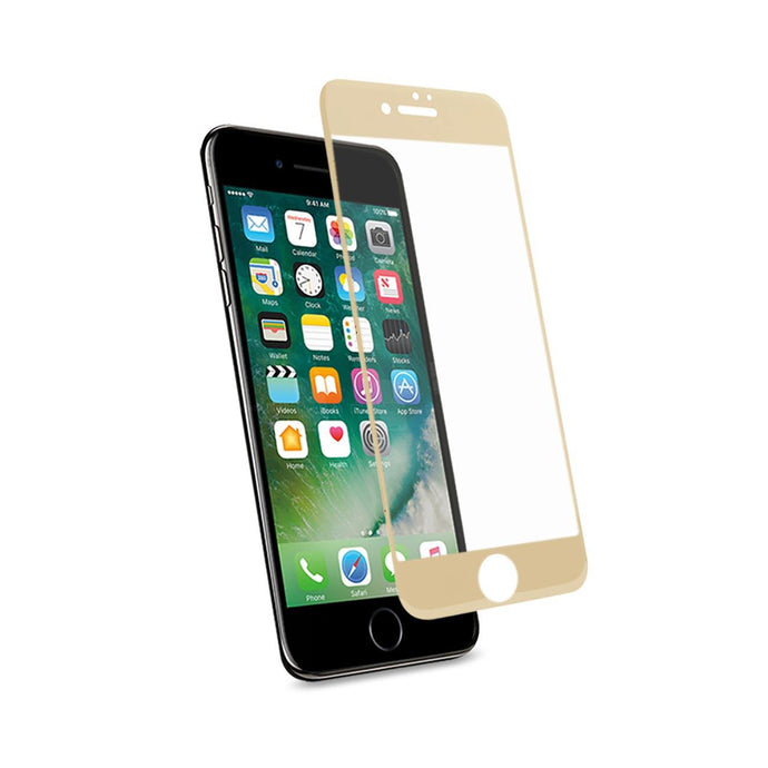 Reiko Iphone 7 3d Curved Full Coverage Tempered Glass Screen Protector In Gold