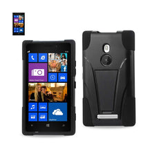 Load image into Gallery viewer, Reiko Nokia Lumia 925 Hybrid Heavy Duty Case With Kickstand In Black