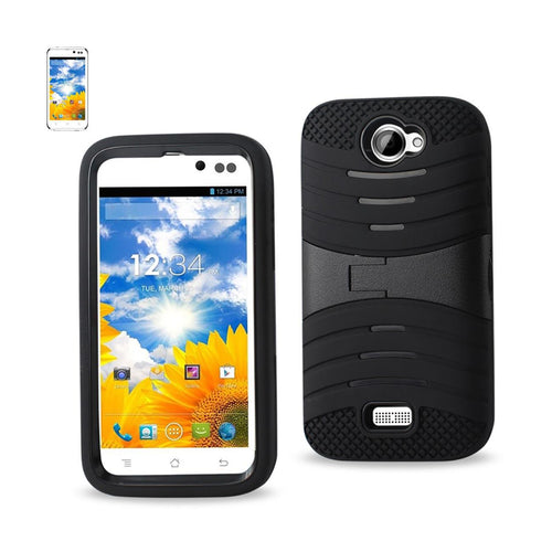 Reiko Blu Advance 4.5 Hybrid Heavy Duty Anti Slip Case With Kickstand In Black