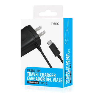 Reiko Portable Type C Travel Adapter Charger With Built In Cable In Black