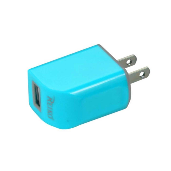 Reiko Micro Usb 1 Amp Portable Micro Travel Adapter Charger With Cable In Blue