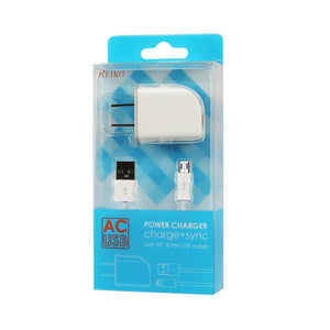 Reiko Micro Usb 1 Amp Portable Micro Travel Adapter Charger With Cable In White