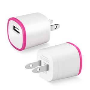 Reiko 1 Amp Dual Color Portable Usb Travel Adapter Charger In Hot Pink White