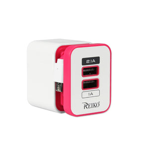 Reiko 2 Amp Dual Port Portable Travel Adapter Charger In Hot Pink
