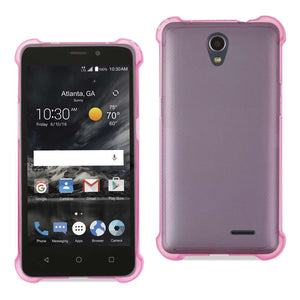 Reiko Zte Maven 2- Chapel (z831) Clear Bumper Case With Air Cushion Protection In Clear Hot Pink