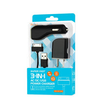 Load image into Gallery viewer, Reiko Iphone 4g 1 Amp 3-in-1 Car Charger Wall Adapter With Cable In Black