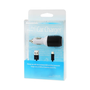 Reiko Iphone 5- Se 2 Amp Usb Car Charger With Cable In Black