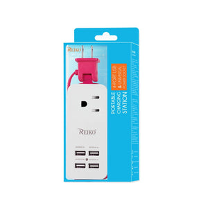 Reiko 4 Amp Home Travel Charging Station In Hot Pink
