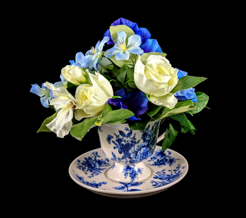 Blue Summer Flowers in a Teacup Floral Arrangement