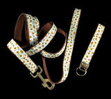 Daisy on Brown Webbing Fashion Dog Leash with Matching Wristlet Keychain