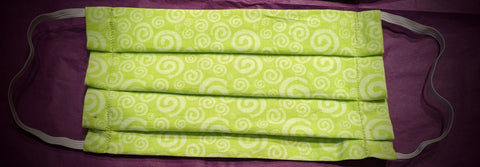 Lime Green and White Swirls Face Mask