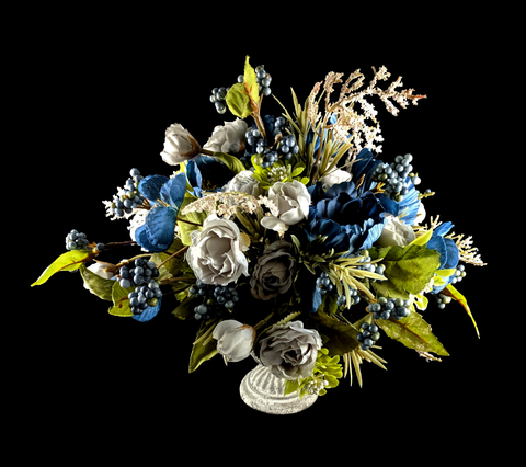 Small Blue and Gray Silk Flower Arrangement in Tin