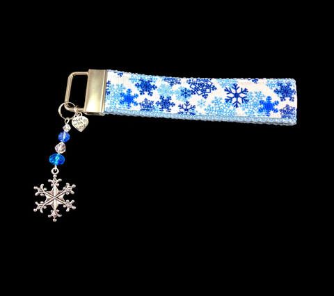 Shades of Blue in The Snow Wristlet Keychain